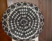 Handknit tam in black and white  with Faeroese patterns