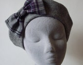 Grey Hat- Grey Beret Hat with Purple Tartan Bow