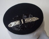 Black Felt Hat with Art Deco Style Beading