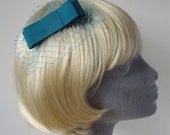 Turquoise Bow  Hair Comb- Turquoise Bow  Haircomb