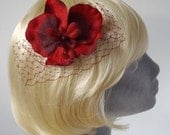 Ruby-Red Flower Hair Comb- Ruby-Red Orchid Hair Comb