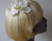 White Flower Hair Comb- White Orchid Hair Comb (Curly)