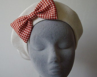 Ivory Hat- Ivory Beret Hat with Red-Ivory Gingham Bow