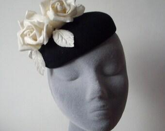 Black Felt Hat with Ivory Velvet Roses
