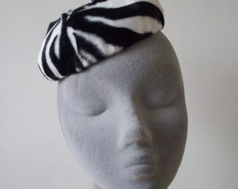 Zebra Fur Hat in Fake Fur