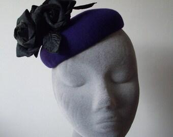 Purple Felt Hat with Black Velvet Roses