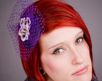 Purple Fascinator- Purple-White Flower (Pansy)