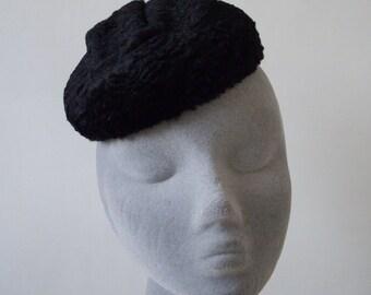 Black Fur Hat- Astrakhan Fake Fur Hat