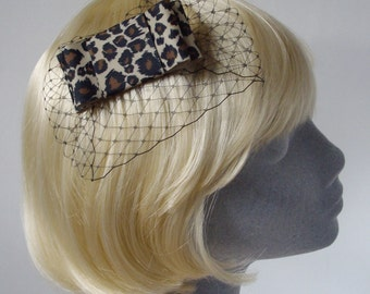 Leopard Bow  Hair Comb- Leopard Bow  Haircomb (Wide)