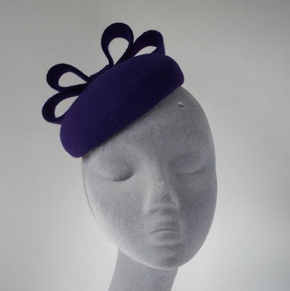 Purple Felt Hat with Felt Bow, Purple Felt Button Hat, Purple Felt Beret Hat, Purple Felt Cocktail Hat, Purple Felt Womens Hat