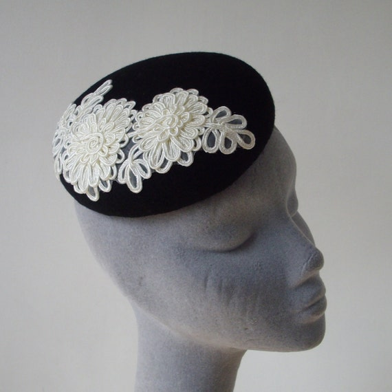 Black Felt Hat with Ivory Flower Motif