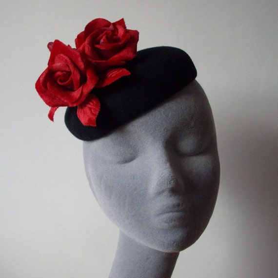 Black Felt Hat  with Red Velvet Roses
