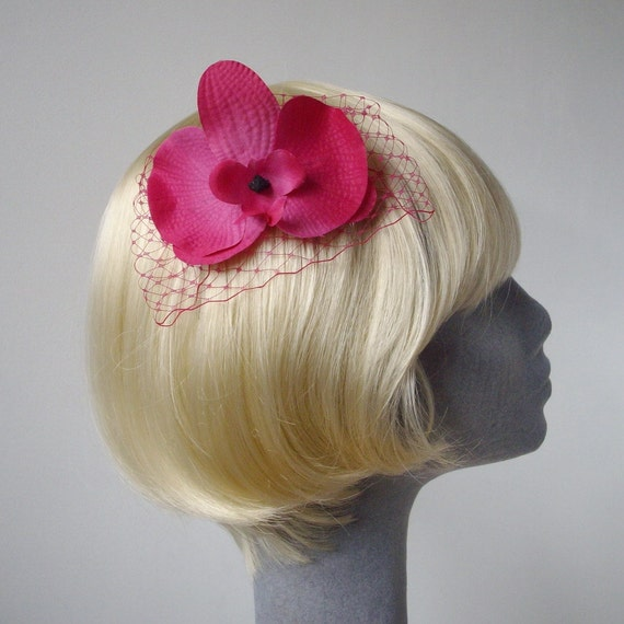 Pink Flower Hair Comb, Pink Orchid Hair Comb, Pink Hair Flower, Pink Hair Orchid, Pink Hair Accessory, Pink Orchid Headpiece