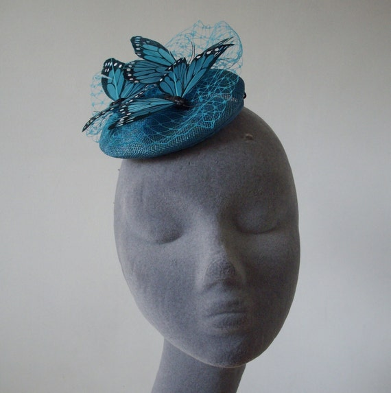 Turquoise Fascinator- Turquoise Butterfly-Large