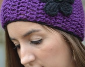 Purple Earwarmers with Black Flower
