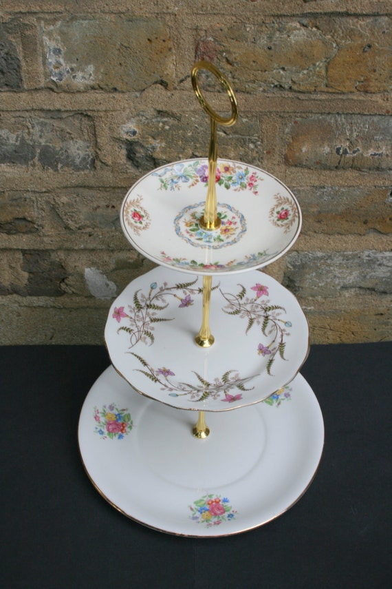 Pink and Blue Chintz Cake Stand Vintage Remade