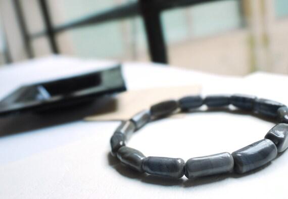 Men's bracelets, Smoke grey Men's Bracelets, Lampwork Glass Mens Bracelet, mens bracelet bead