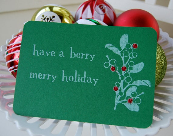 SALE Berry Merry Green Holiday Greeting Cards - Gocco Printed, Set of 10