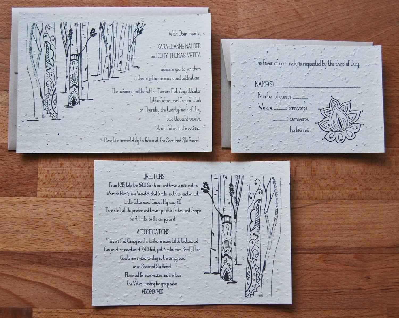 Plantable Seed Paper Wedding Invitation Set Henna Aspens Design