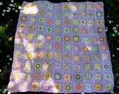 Pastel Flowers Granny Square. Lilac Spring Blossoms Baby Blanket. Crochet Home Decor Blanket. Baby Stroller Throw.