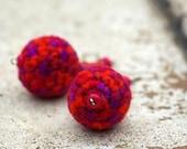 Ball Earrings Fiber Art. Crochet Multicolor Red Earrings. Colored Wood Beads Earrings. Fiber Art Jewelry. Gift for Her by dodofit on Etsy