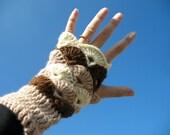 Hat and Wrist Warmers Crochet Set in Brown Ecru Beige Fingerless Mittens Handknit Gloves by dodofit on Etsy