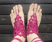 Boho Burgundy Barefoot Sandals Crochet Dual-use and Fingerless mittens Hippie Yoga Dance Fashion Accessories Cotton by dodofit on Etsy