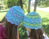 Summer Hat Sea Breeze Beach Multicolor Accessory Crochet Batik Light Blue Turquoise Green Cotton by dodofit on Etsy