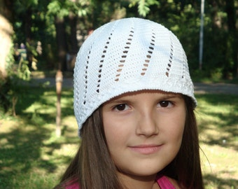 White Cotton Summer Hat. Sun Protection Beany. Handmade Crochet Cotton Slouchy. Women Beach Accessory by dodofit on Etsy