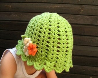 Crochet Girlie Green Hat with Flowers in Orange and Vanilla by dodofit on Etsy