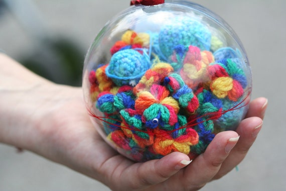 17 Crochet Multicolor Flowers In Red, Blue, Green, Yellow, Orange Spring Blossom by dodofit on Etsy