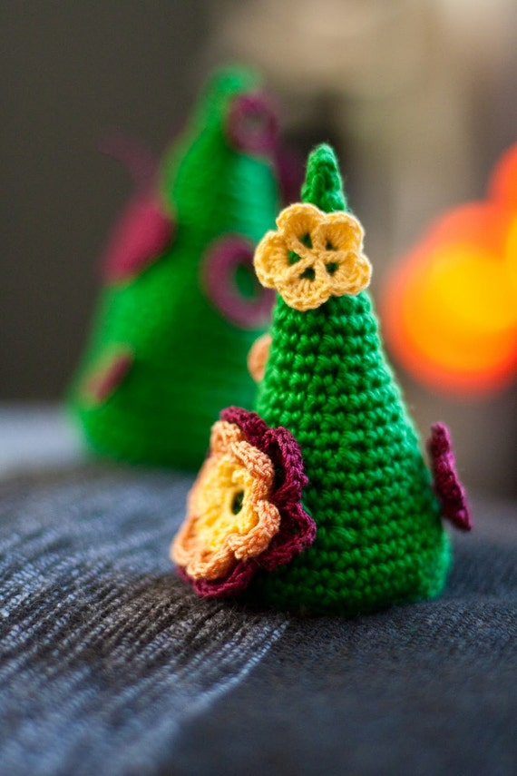 Amigurumi Christmas Tree with Flowers and Butterflies. Crochet Green Miniature Tree. X-mas Ornament. Christmas Gift by dodofit on Etsy