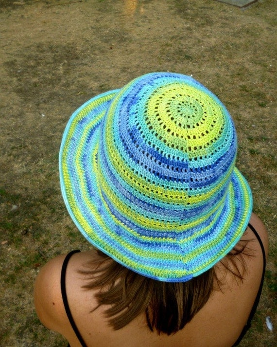 Multicolor Sunny Breeze Hat Crochet Bamboo Batik Summer Accessory Ocean Sky Beach Gift Lady Woman Girl by dodofit on Etsy
