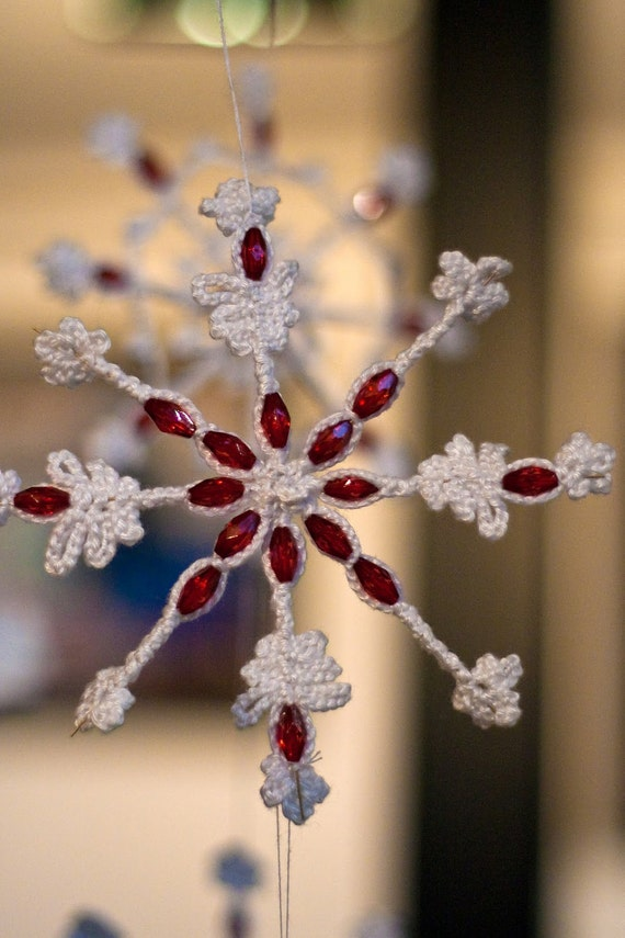 Christmas Ornament Snowflake with Red Crystal Beads Crocheted on Wire Frame with Cotton Yarn Home Decoration designed by dodofit on Etsy