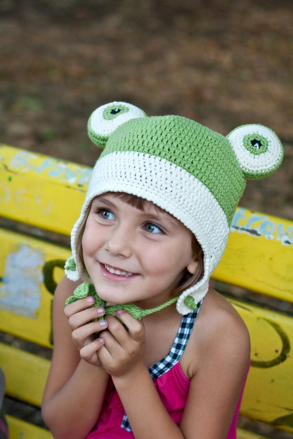 Earflap Frog Hat. Funny Crochet Green Vanilla Hat. Halloween Kids Costumes St. Patrick's Day designed by dodofit on Etsy