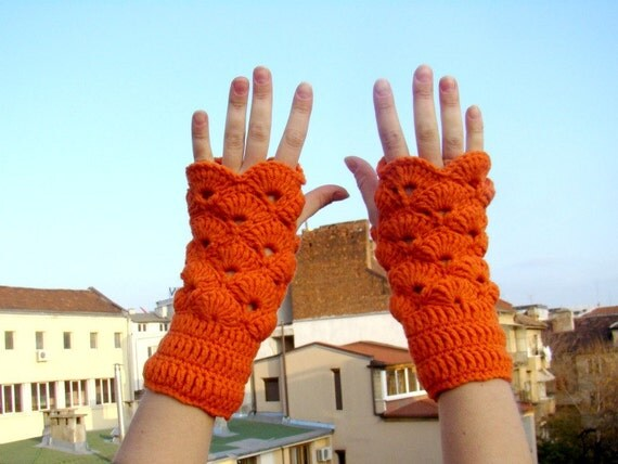 Orange Crochet Fingerless Mittens Wrist Warmers Handknit Gloves Tangerin Tango Winter Accessories Christmas Gift  by dodofit on Etsy
