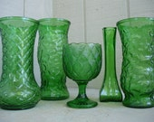 Vintage Green Glass Vases and Planters...Instant Collection...Set of 5