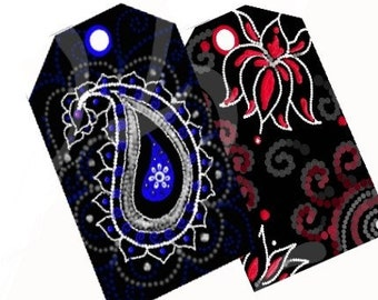 INDIART- Paisley and Lotus Designs- GIFT TAGS- Download and Print Digital Collage Sheet .
