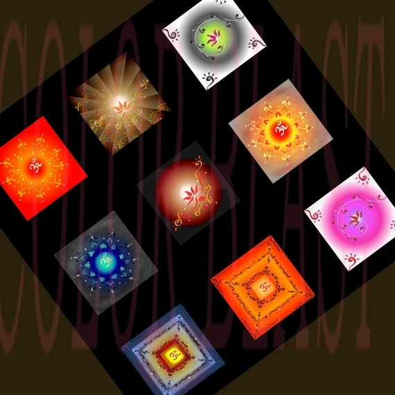 INDIART- OM and Lotus Meditation Patterns- Unique Instant Download Digital Collage Sheet - 1 Inch Squares for Glass Pendants, Magnets etc.