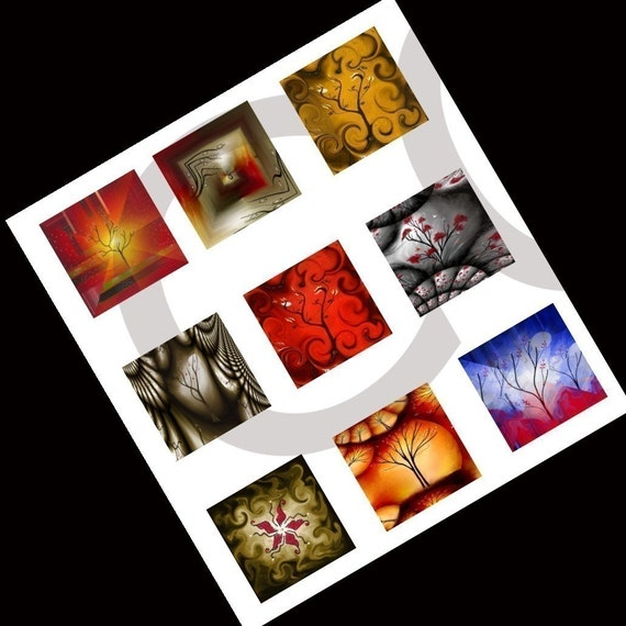 """VIBRANT- Landscape Images- INSTANT Downloadable Collage Sheet - 1"""" tiles for Glass Pendants, Earrings, Magnets and craft supplies"""