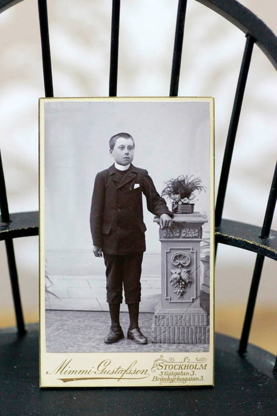 Antique European CDV Photo Young Boy in Knickers Suit