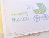 Baby Shower Thank You Cards / Baby Shower Thank You Notes, Baby Carriage, 10-Count