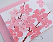 Cherry Blossoms Blank Notecards / Blank Cards / Floral Stationery, 10-Count