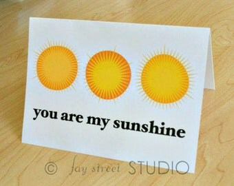 You Are My Sunshine Blank Notecards / Blank Cards / Inspirational Stationery, 10-Count