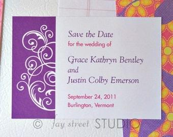Save the Date Magnet, Wedding Card, Swirls