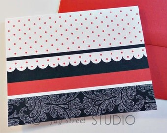 Blank Notecard Set Red Polka Dots and Black Lace, 10-Count