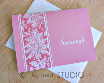 Personalized Damask Stationery Set, Personal Stationery, Pink Blue or Green, 10-Count