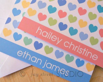 Personalized Stationery Set, Personal Stationery, Children's Stationery, Hearts, 10-Count
