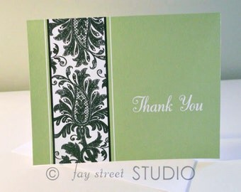 Thank You Notes Damask Green Black / Damask Thank You Cards, 10-Count