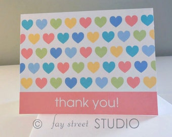 Thank You Notes / Thank You Cards / Children's Stationery, Pastel Hearts, 10-Count